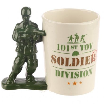 Toy Soldier Shaped Handle Ceramic Mug